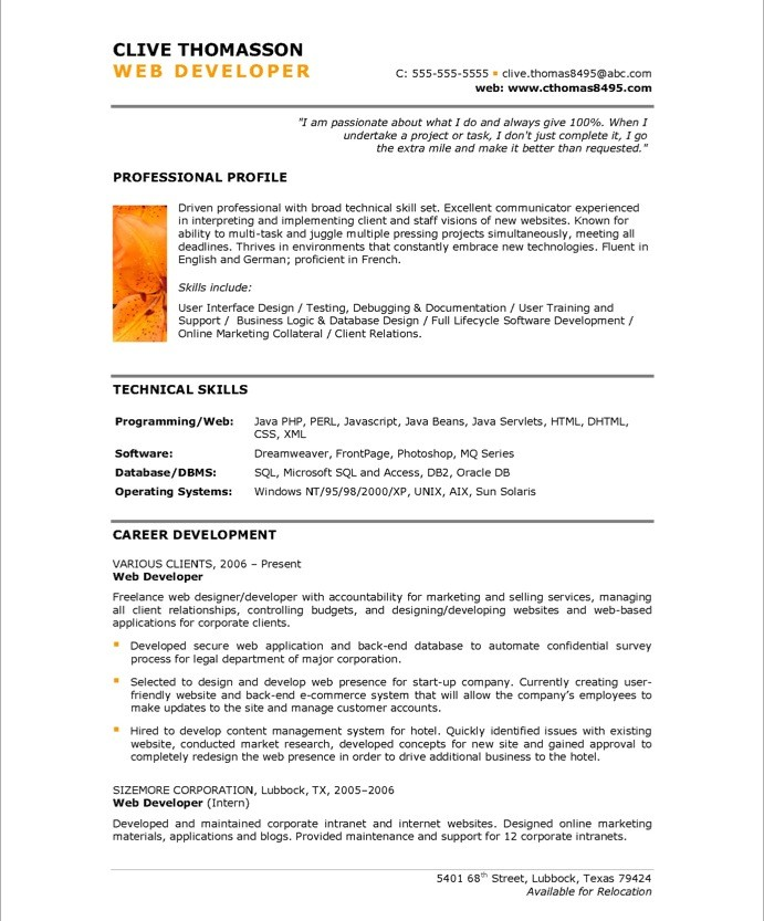 web developer resume sample ~ Gopitch.co