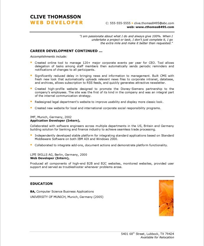 Delightful Old Version Old Version Old Version On Sample Web Developer Resume