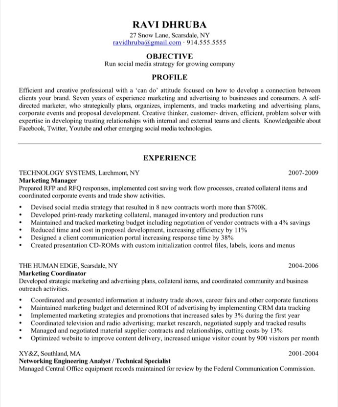 old version - Social Media Manager Resume Sample