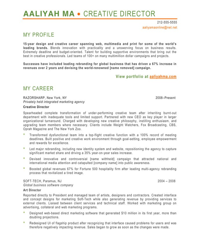 profile on resume sample