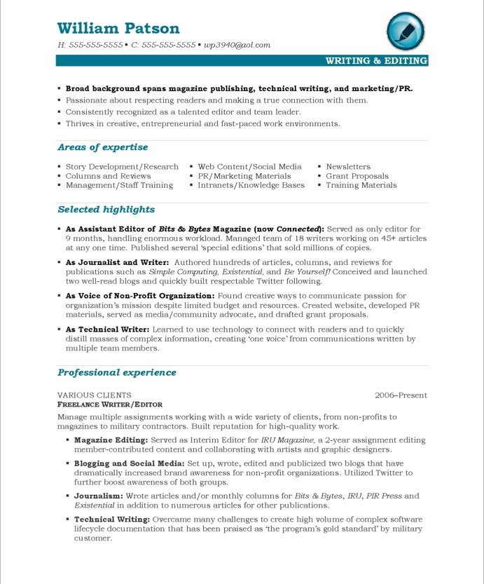 Exceptional Old Version Old Version Old Version  Writer Resume Sample