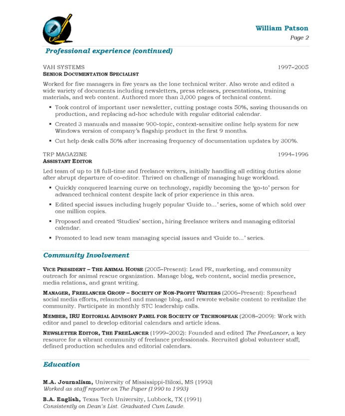 Writer resume example