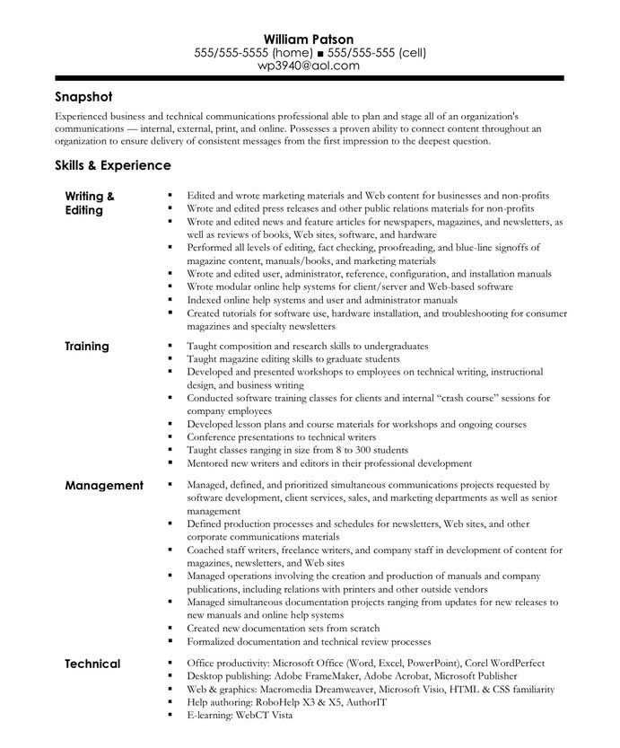 old version - Sample Resume For Writer