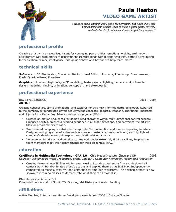Video Game Artist Resume Examples