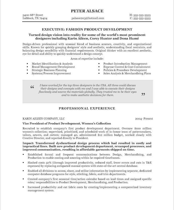 fashion executive free resume sles blue sky resumes