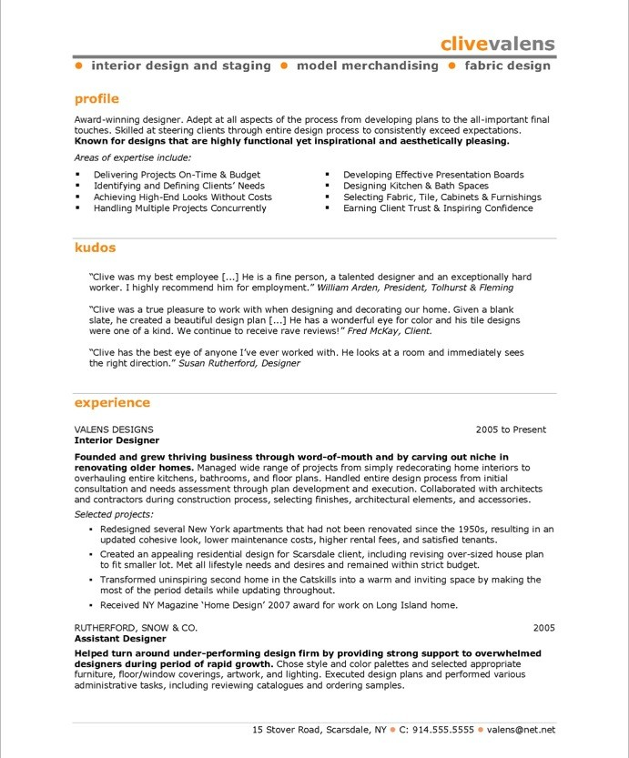 old version old version old version - Interior Designer Resume