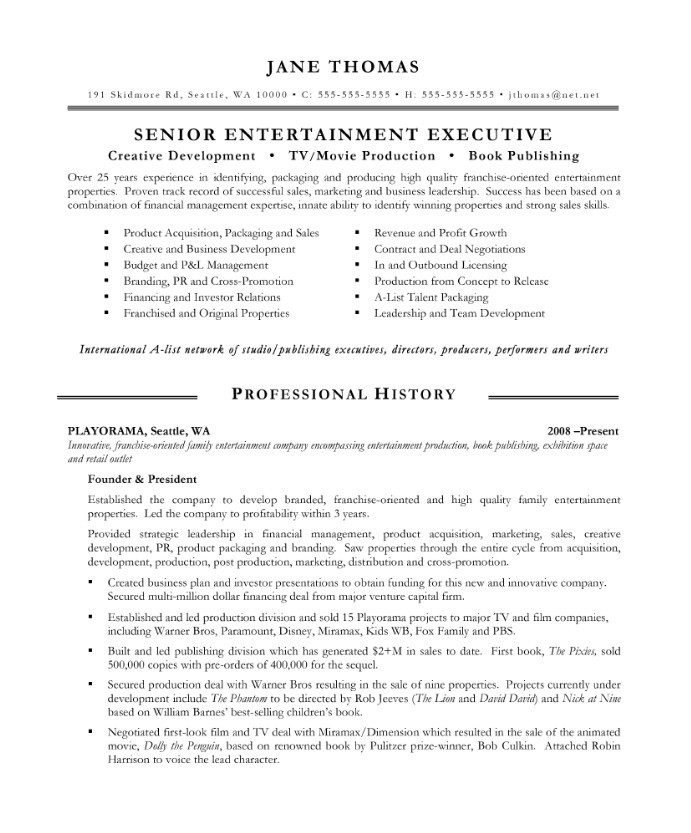 Entertainment Executive | Free Resume Samples | Blue Sky Resumes