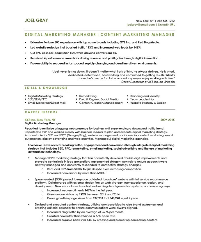 sample online marketing manager resume - Marketing Manager Resume
