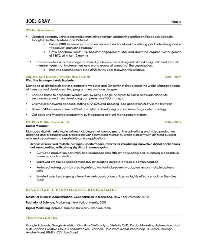 Digital Marketing Manager Free Resume Samples