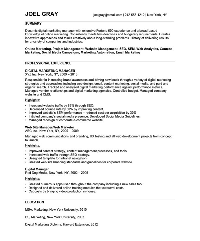 Old Version ...  Marketing Manager Resume Examples