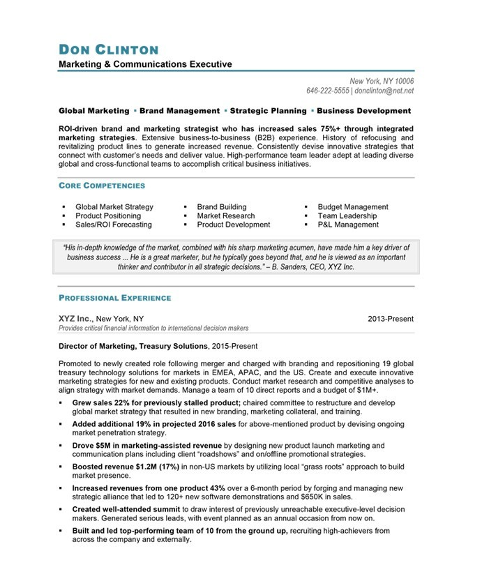 blue sky resumes - Marketing Director Resume