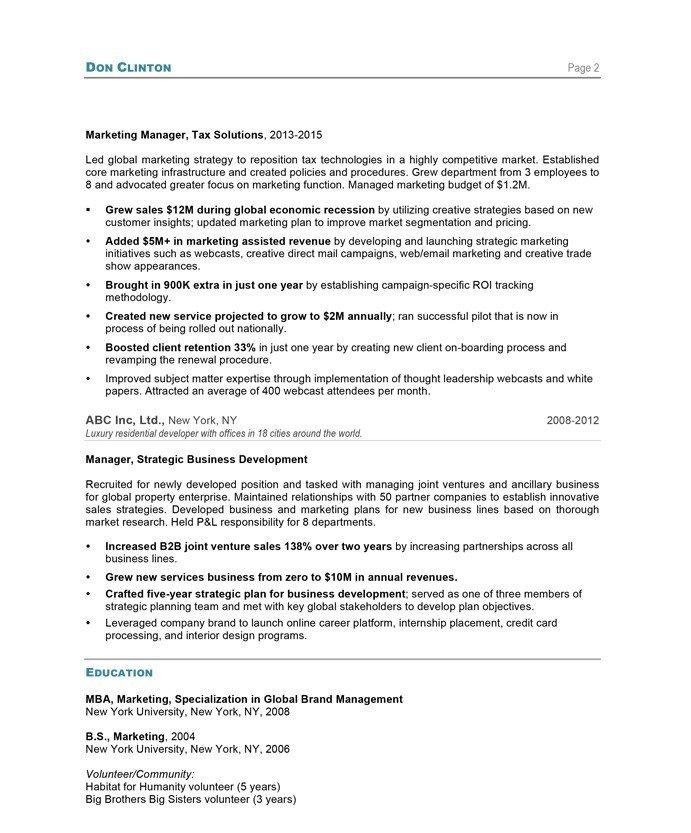 old version old version - Marketing Director Resume