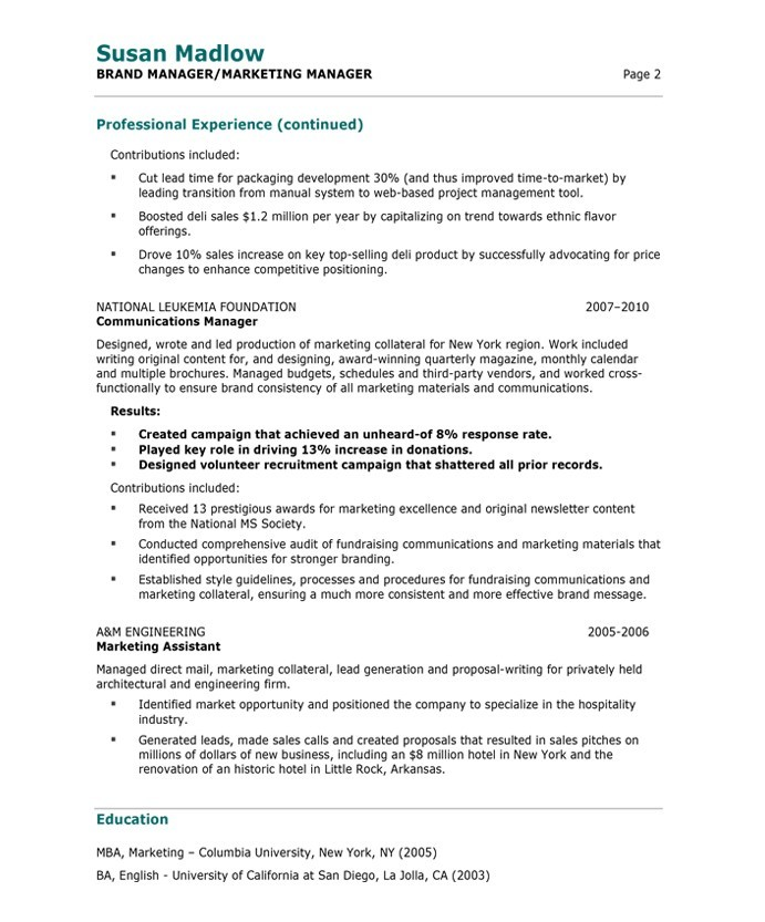 Attractive Marketing Manager Sample Resume Pertaining To Resume Marketing Manager