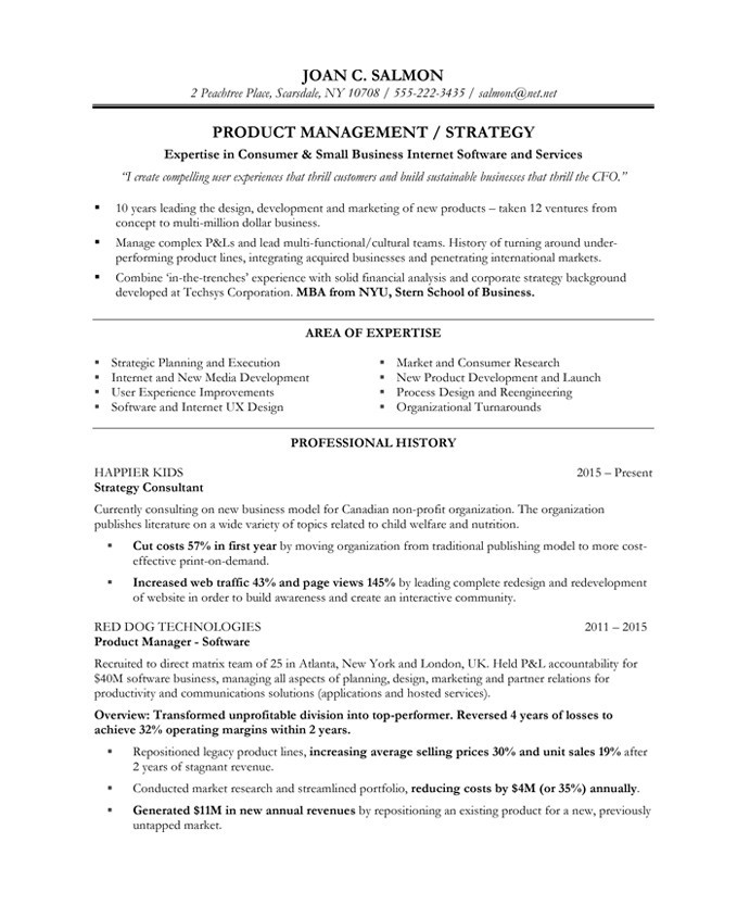 sample product manager resumes converza co