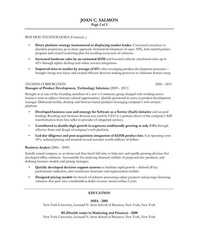 product managers resume