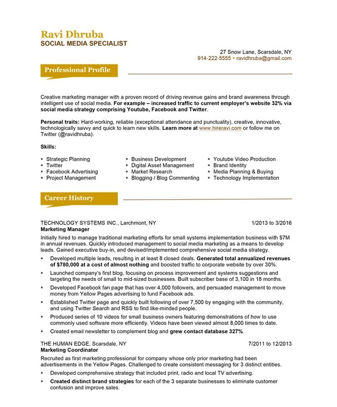 Great Old Version Old Version Old Version Regarding Social Media Resume Examples